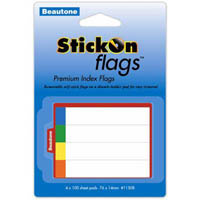 STICK ON INDEX FLAGS 100 SHEETS 14 X 76MM ASSORTED PACK 400