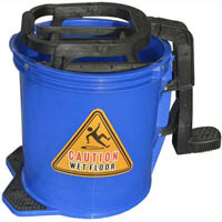 CLEANLINK MOP BUCKET HEAVY DUTY PLASTIC WRINGER 16 LITRE BLUE