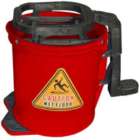 CLEANLINK MOP BUCKET HEAVY DUTY PLASTIC WRINGER 16 LITRE RED