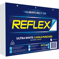 REFLEX A4 ULTRA WHITE COPY PAPER 3 HOLE PUNCHED 80GSM WHITE PACK 500 SHEETS