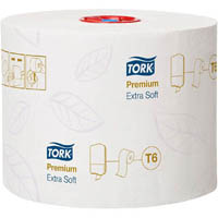 TORK 127510 T6 TOILET TISSUE PREMIUM MID-SIZE SOFT 3 PLY EMBOSSED 99MM X 70M WHITE ROLL CARTON 27