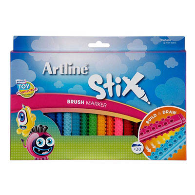 Image for ARTLINE STIX BRUSH MARKER ASSORTED PACK 20 from Mackay Business Machines (MBM)