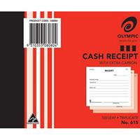 OLYMPIC 615 CASH RECEIPT BOOK CARBON TRIPLICATE 100 X 125MM