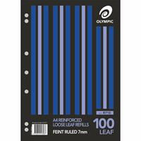 OLYMPIC LOOSE LEAF REFILL REINFORCED 7MM FEINT RULED A4 PACK 100