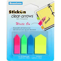 STICK ON CLEAR ARROWS WRITE ON 25 SHEETS ASSORTED PACK 4
