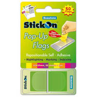 STICK ON POP UP FLAGS 50 SHEETS 45 X 25MM LIME
