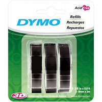 DYMO 1741670 EMBOSSING LABELLING TAPE GLOSSY 9MM BLACK PACK 3