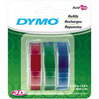 DYMO 1741671 EMBOSSING LABELLING TAPE GLOSSY 9MM RED/GREEN/BLUE PACK 3