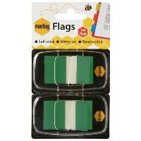 MARBIG FLAGS POP-UP 50 FLAGS 25 X 44MM GREEN PACK 2