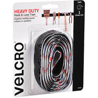 VELCRO BRAND STICK-ON HEAVY DUTY HOOK AND LOOP TAPE 25MM X 1M BLACK