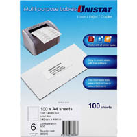 UNISTAT 38946 TRIM LABEL A4 6UP PACK 100