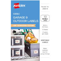 AVERY 39014 DURABLE REMOVABLE LABELS 95.2 X 63.5MM WHITE WITH FLORAL DETAILS PACK 10