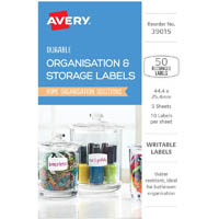 AVERY 39015 DURABLE REMOVABLE LABELS 44.4 X 25.4MM WHITE WITH BLUE DETAILS PACK 50