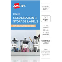 AVERY 39017 DURABLE REMOVABLE LABELS 44.4 X 25.4MM WHITE WITH BROWN DETAILS PACK 50