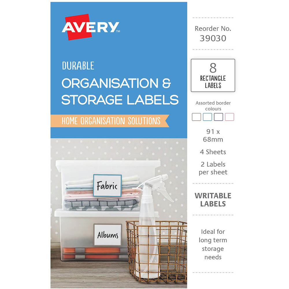 Image for AVERY 39030 ORGANISATION AND STORAGE LABELS RECTANGLE 91 X 68MM WHITE PACK 8 from Axsel Office National