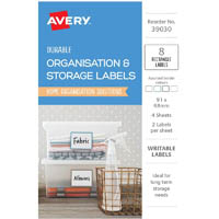 AVERY 39030 ORGANISATION AND STORAGE LABELS RECTANGLE 91 X 68MM WHITE PACK 8