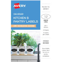 AVERY 39101 CHALKBOARD LABELS SCOLLOP PACK 12