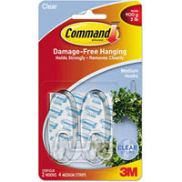 COMMAND ADHESIVE MEDIUM HOOKS CLEAR PACK 2 HOOKS AND 4 STRIPS