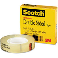 SCOTCH 665 DOUBLE SIDED TAPE 19MM X 33M