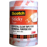 SCOTCH 502 STICKY TAPE 24MM X 66M PACK 6