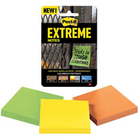 POST-IT EXTRM33-3TRYMX EXTREME NOTES 76 X 76MM ORANGE/GREEN/YELLOW PACK 3