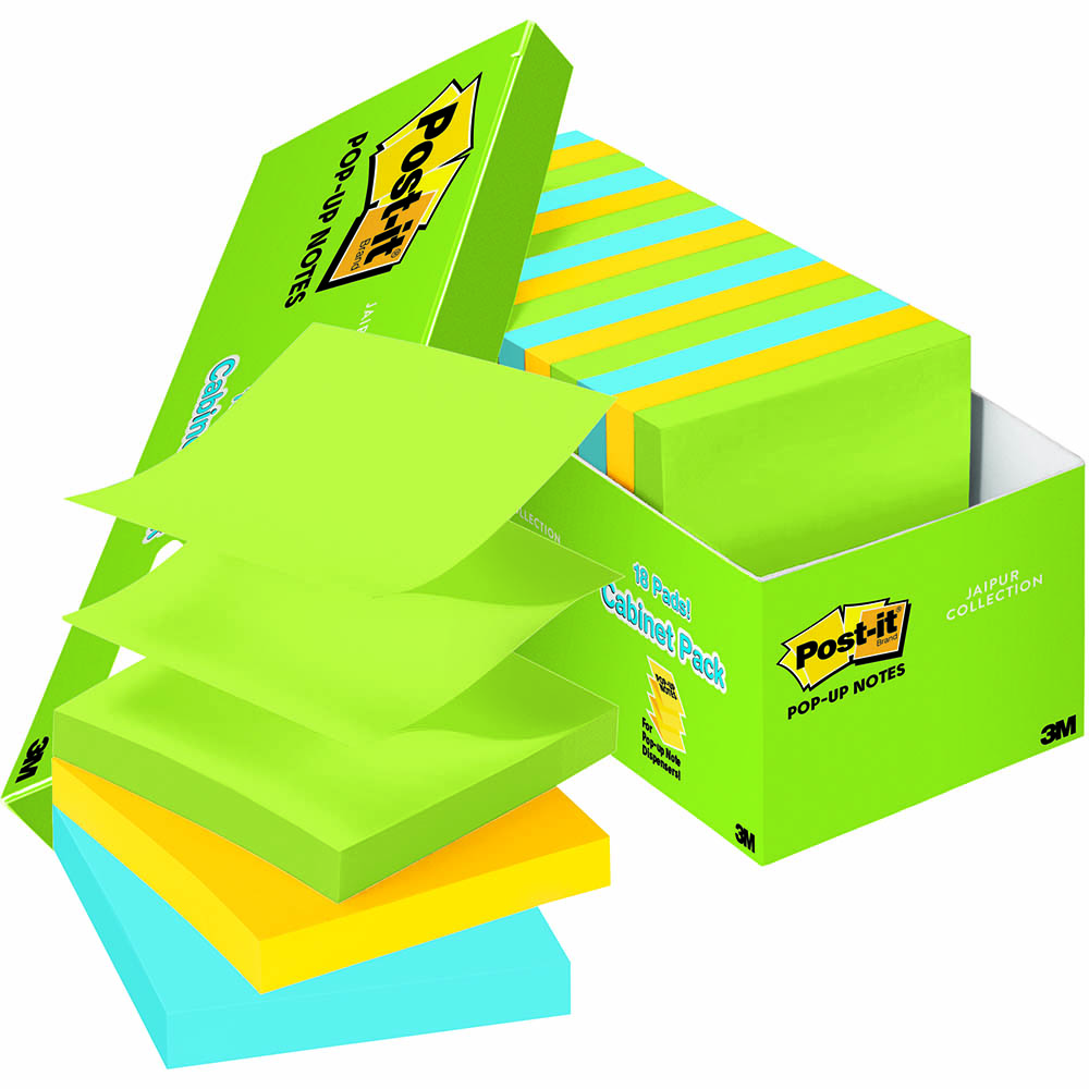 POST-IT R330-18AUCP POP-UP NOTES 76 X 76MM ASSORTED JAIPUR