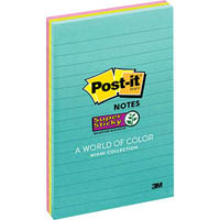 POST-IT 4645-3SSMIA SUPER STICKY LINED NOTES 100 X 148MM MIAMI PACK 3