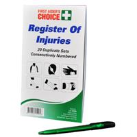 FIRST AIDERS CHOICE REGISTER OF INJURIES BOOK AND PEN