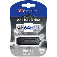 VERBATIM STORE-N-GO V3 FLASH DRIVE 3.0 64GB GREY
