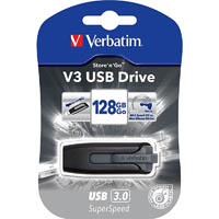 VERBATIM STORE-N-GO V3 FLASH DRIVE 2.0 128GB GREY