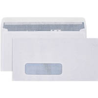 CUMBERLAND DL ENVELOPES SECRETIVE WALLET WINDOWFACE STRIP SEAL LASER 90GSM 110 X 220MM WHITE BOX 500