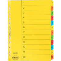 BANTEX MANILLA INDEX DIVIDER 1-12 TAB A4 ASSORTED