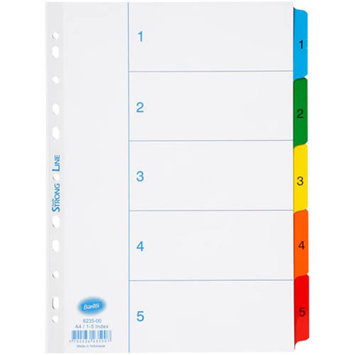 Image for BANTEX MYLAR INDEX DIVIDER 1-5 TAB A4 WHITE from Mackay Business Machines (MBM)