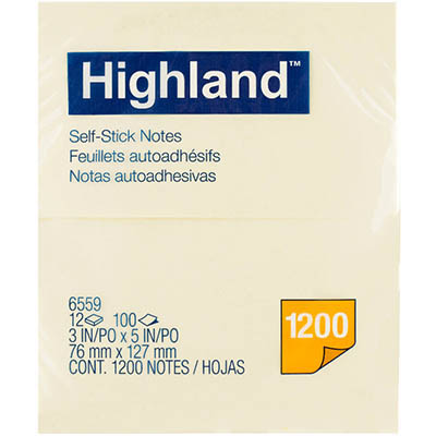 Image for HIGHLAND SELF-STICK NOTES 76 X 127MM YELLOW PACK 12 from Mackay Business Machines (MBM)
