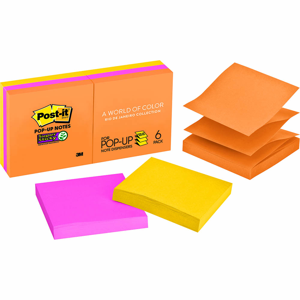 Image for POST-IT R330-6SSUC SUPER STICKY POP-UP NOTES 76 X 76MM RIO DE JANEIRO PACK 6 from Axsel Office National