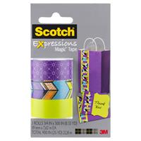 SCOTCH C214 EXPRESSIONS MAGIC TAPE SPOKES/TRIBAL/LIME GREEN PACK 3
