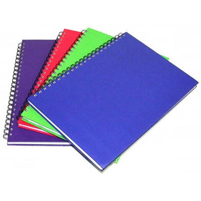 Image for CUMBERLAND COLOURED NOTEBOOK SPIRAL BOUND FEINT RULED 200 LEAF A4 BRIGHT ASSORTED from Axsel Office National