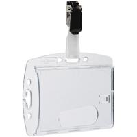 DURABLE ACRYLIC SECURITY PASS HOLDER WITH ROTATING CLIP BOX 25