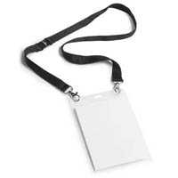 DURABLE EVENT NAME/PASS HOLDER A6 WITH DUO NECKLACE BLACK PACK 10