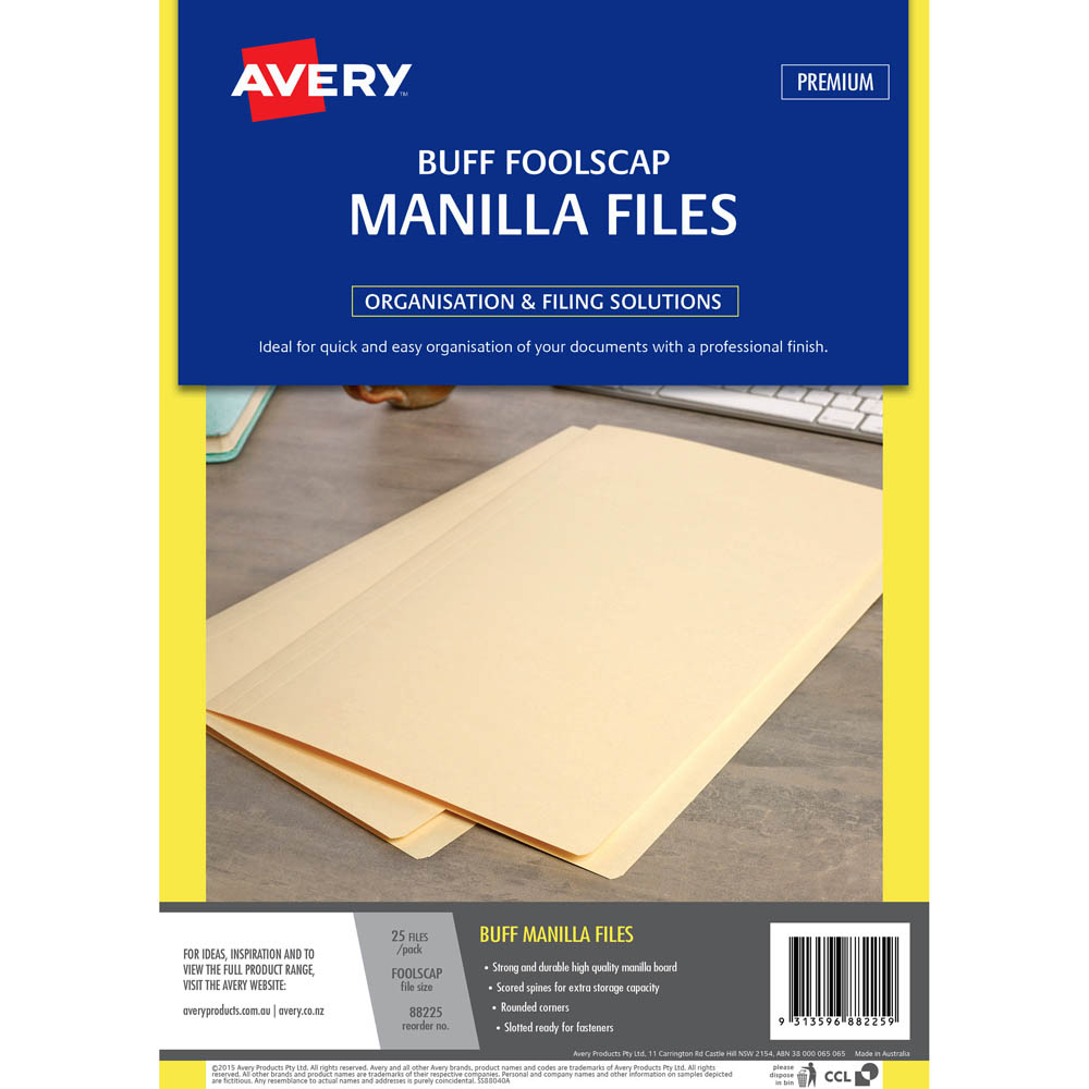 Image for AVERY 88225 MANILLA FOLDER FOOLSCAP BUFF PACK 5 from Axsel Office National