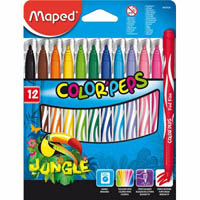 MAPED COLOR PEPS JUNGLE FELT TIP MARKERS PACK 12