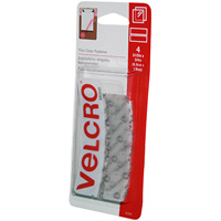 VELCRO BRAND STICK-ON HOOK AND LOOP FASTENERS 8.9 X 19MM CLEAR PACK 4