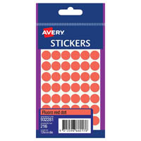 AVERY 932281 MULTI-PURPOSE STICKERS CIRCLE 12MM FLURO RED PACK 216