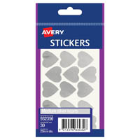 AVERY 932356 MULTI-PURPOSE STICKERS HEART 23MM SILVER PACK 30