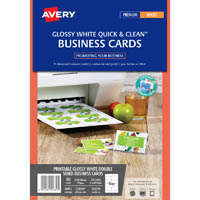 AVERY 936229 C32028 BUSINESS CARD TEMPLATE GLOSS 85 X 54MM WHITE PACK 80