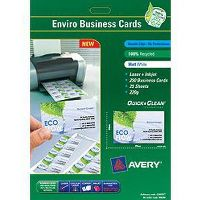 AVERY 936240 C32075 BUSINESS CARD RECYCLED LASER AND INKJET 85 X 54MM WHITE PACK 250