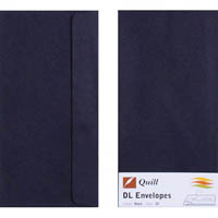 QUILL DL COLOURED ENVELOPES PLAINFACE STRIP SEAL 80GSM 110 X 220MM BLACK PACK 25