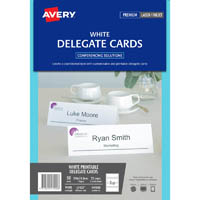 AVERY 947000 L7423 DELEGATE CARDS LASER EMBOSSED 2UP 210 X 74.25MM 150GSM PACK 25