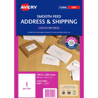 AVERY 959091 L7167 SHIPPING LABEL SMOOTH FEED LASER 1UP WHITE PACK 250
