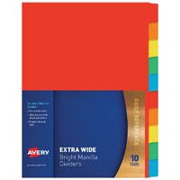 AVERY 97570 DIVIDER MANILLA EXTRA WIDE 10 TAB A4 BRIGHT MULTI COLOURED